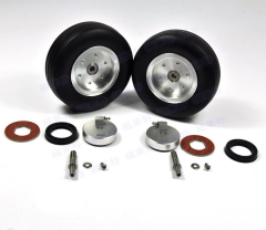 "1 Set Of 3.5"" Left and Right High Quality RC Rubber Wheel With Brake Axle For Airplane Viper Brake System"